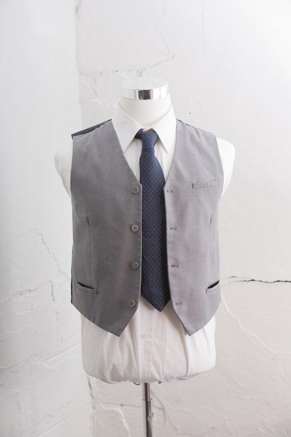 Herren Anzug Weste kleine Vintage Taube Weste grau Größe 36 kurze E39