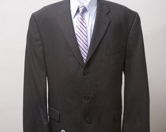 Men's Blazer / Vintage Jacket Upcycled with Screen Printed Anchor / Size 46 Long XL