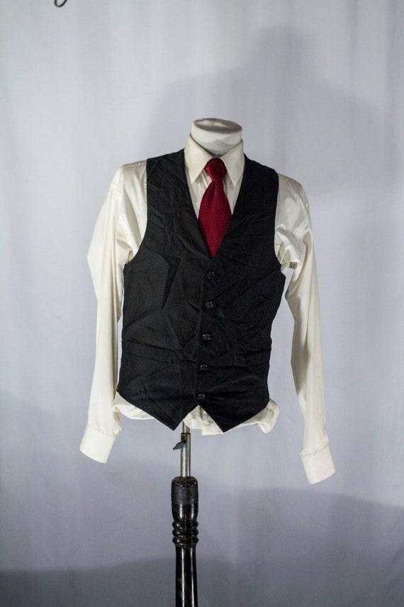 Herren Anzug Weste 40 Vintage schwarze Nadelstreifen Weste Größe 40 Mittel große #2085