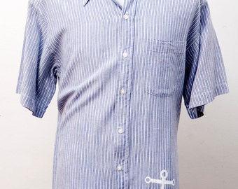 Men's Shirt / Short Sleeve Blue Striped Shirt / Upcycled with Screen Printed Anchor / Size Large
