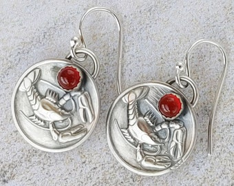 Carnelian Lobster Earrings in Steriling Silver Crayfish Crawdad