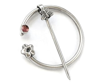 Penannular Brooch Tourmaline Butterfly and Flower in Sterling Silver