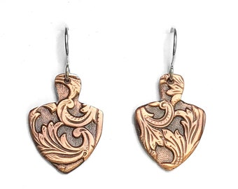 WINDCHIME Earrings Bronze Textured Earrings Gift for Her Brushed Finish Dangle Earrings Modern Bar Earrings One Inch