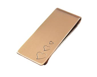 My Love For You Grows Hearts Money Clip Bronze or Sterling Silver, Metal Card Holder, Personalized, Stamped, Love, Gift For Him
