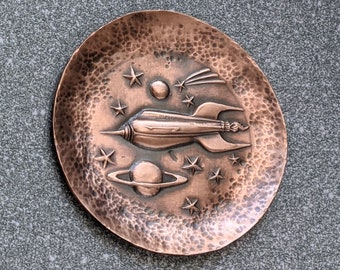 Jewelry and Ring Dish with Rocket Ship to the Stars Design Copper Bowl Hand Forged Textured Copper Home Accent Decor Small Dish Small Bowl