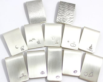 Sterling Silver Money Clips Ready to Ship, Boat, Lighthouse, Dog, Ski, Sailing, Football, Mens Gift, Card Holder, Fathers Day