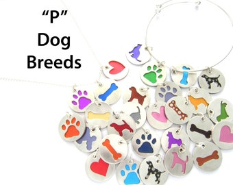 P Breeds Dog Pendant Sterling Silver Necklace, Pet Lover Gift, Animal Themed, Breed, Colorful Jewelry, Gift for Her, Dog Walker Gift