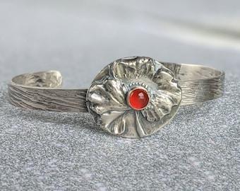 Carnelian Poppy Flower Sterling Silver Cuff Bracelet