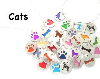 Cat Pendants Sterling Silver Necklace, Pet Lover Gift, Animal Themed, Breed, Colorful Jewelry, Gift for Her, Pet Sitter Breeder