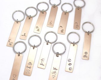 Bronze Key Chains Ready to Ship, Moose, Lighthouse, Sailboats, Ski, Snowboard, Puppy, Firefighter, Doctor, Triathlete, Sports, Bicycle