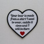 4 Inch Heart Shaped-Your Bear Is Made - Asst Color Text - SEW ON Memory Patch - Custom Wording Welcome