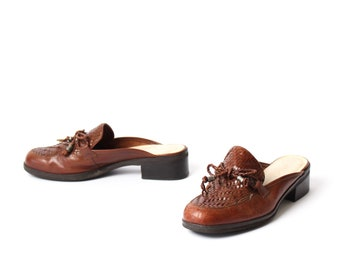 size 7 WOVEN brown leather 80s 90s CLOG slip on MULES with laces
