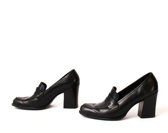 size 7 OXFORD black leather 80s 90s LOAFERS slip-on high heels