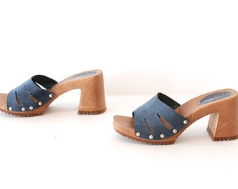3d13435fb3bc size 7.5 PLATFORM blue suede 80s 90s CHUNKY high heel sandals