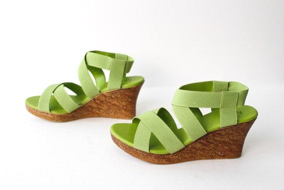 8 Heels Green Platform Y2k Lime 90s Sandals Size Wedge Slingback CdxBoer
