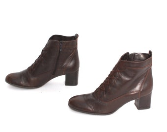 size 7.5 CHELSEA brown leather 80s 90s ZIP UP ankle boots