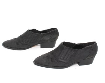 size 7 CHELSEA black leather 80s WESTERN slip on ankle boots