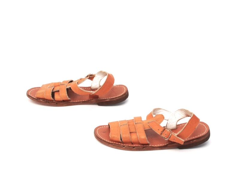 d118bf7f3e407 size 7 HANDMADE tan leather 80s 90s STRAPPY FISHERMAN woven huarache  slingback sandals