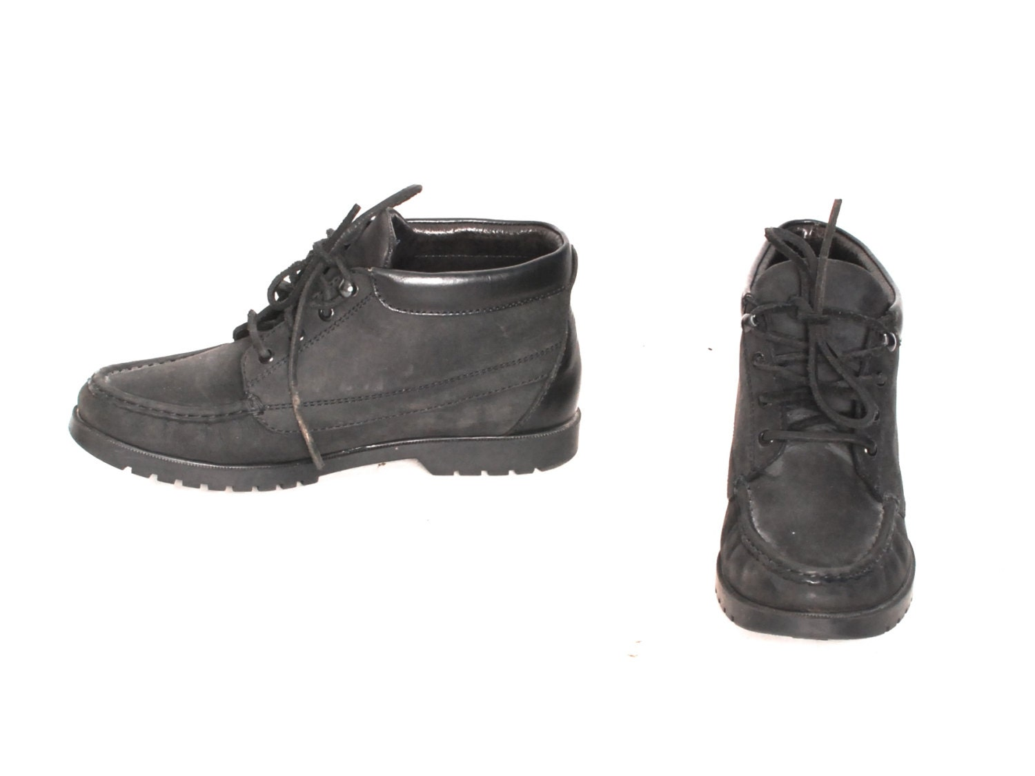 Tamaño 9 GRUNGE negro cuero 80s 90s 90s 90s CHUKKA hiking lace up ankle  botas  7d8035