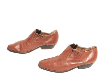 size 7.5 CHELSEA tan leather 80s 90s WESTERN slip on ankle boots