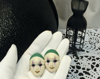 Vintage ceramic 80s Masquerade Mardi Gras Carnival Face Mask Earrings Costume Jewelry pierced Earrings