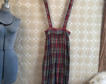 CUTE Vintage dress 80s PLAID overall skirt romper pinafore jumper