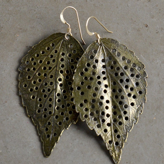 Brass Leaf Earrings by Catherine Nicole