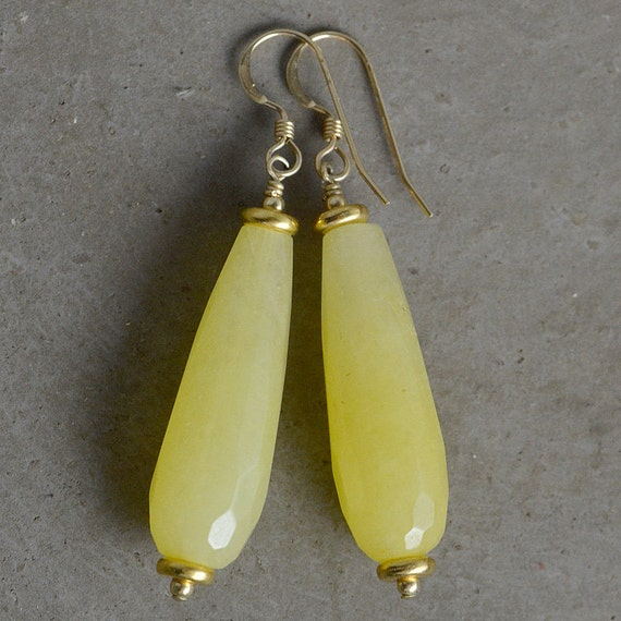 Teardrop Jade Earrings in Sun