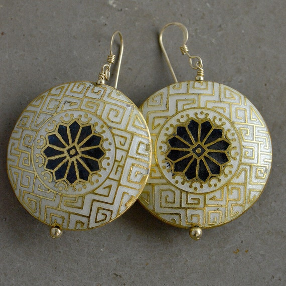 Moroccan Cloisonné Earrings in Snow by Catherine Nicole