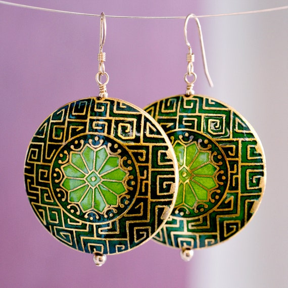 Moroccan-inspired Cloisonné Earrings in Forest