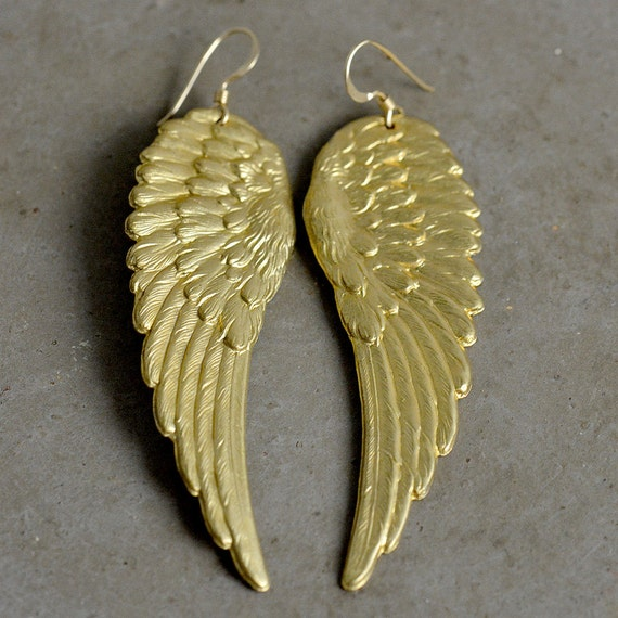 Angel Wing Earrings in Brass & Gold Fill