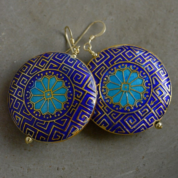 Moroccan Cloisonné Earrings in Blue