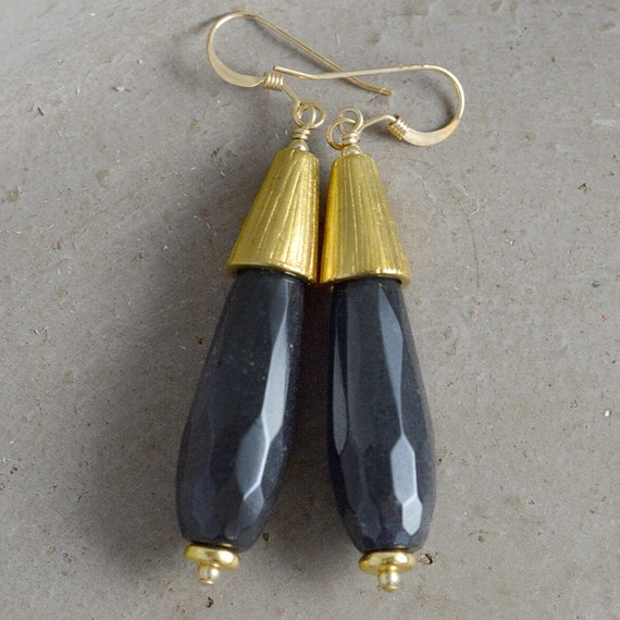 Annabelle Earrings in Black by Catherine Nicole
