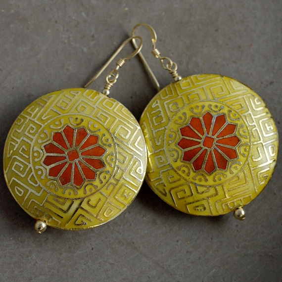 Moroccan Cloisonné Earrings in Sun by Catherine Nicole