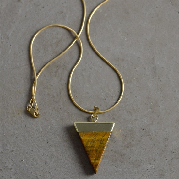 Tiger's Eye Triangle Pendant Necklace