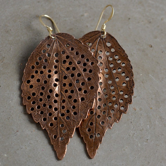 Copper Leaf Earrings by Catherine Nicole