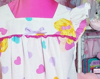 Barbie dress, retro nightie, drag queen, loungewear, fairy spank kei, 80s clothing women, vaporwave aesthetic, size S small
