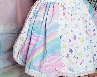 Rainbow skirt, size S M L XL 2X Barbie upcycled bedsheet, pastel rainbow, fairy kei, 90s aesthetic, dreamy pastel, 80s clothing