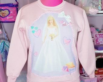 Barbie sweater, fairy kei, spank kei, 80's clothing women, kawaii sweatshirt, 90s aesthetic, pullover jumper, size small