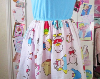 Sanrio dress, 80s 90s womens clothing fairy kei sweet lolita Hello Kitty size large L