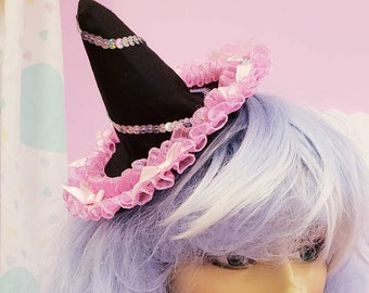 Witch hat Halloween fascinator fairy kei creepy cute pastel goth iridescent gothic fashion witchy vibes alligator clip