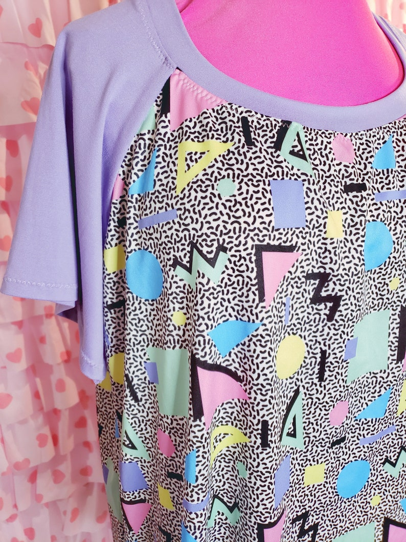 saved by the bell new wave plus size shirt size 2X 80/'s clothing women 80s plus size geometric print memphis style 80s shirt