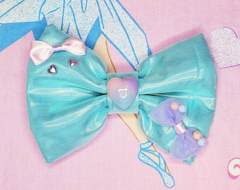 Iridescent hair bow, 90's hair accessory, fairy kei accessories, drag queen accessories, sweet lolita, spank kei, vaporwave aesthetic