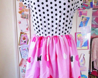 Minnie Mouse dress, 80s 90s pink womens clothing fairy kei sweet lolita polka dot Disneybound size large L