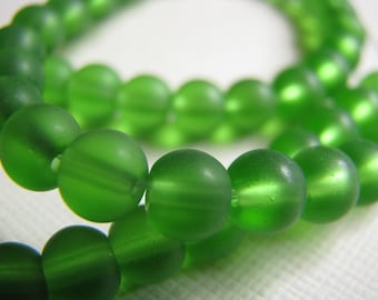 LAST LOT - Green sea glass beads - 6mm round  (25)