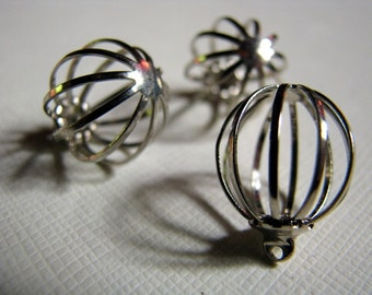 3 silver cage charms