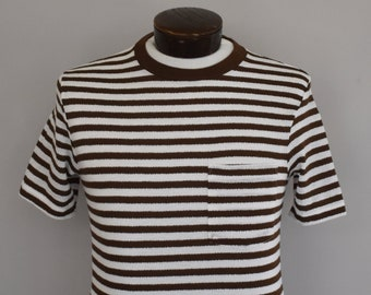 5326bdec4 Vintage Men's Tee, 60s Striped Shirt, 1960s Brown and White Pocket Tee,  Hipster, Size Small to Medium