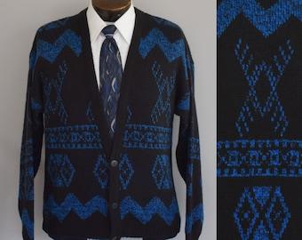 1980s Geometric Print Jumper Size Medium to Large Fresh Prince Hip Hop 80s Button Front Sweater Vintage Mens Cardigan