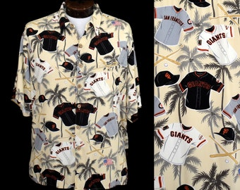 f4911540 San Francisco Giants Shirt, Vintage 90s Reyn Spooner Rayon Button Front,  1990s Mens Hawaiian Novelty Print Shirt, Size Large to XL