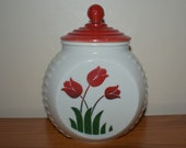 Vintage FIRE KING Red Tulip Grease Jar, Anchor Hocking White Vitrock Range Grease Jar with Lid, 1940s